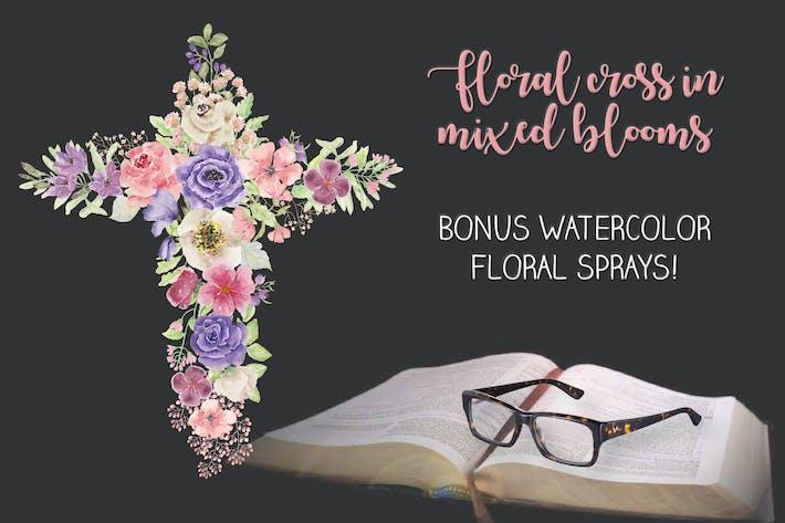 Thumbnail for Крест цветов в радужных оттенках