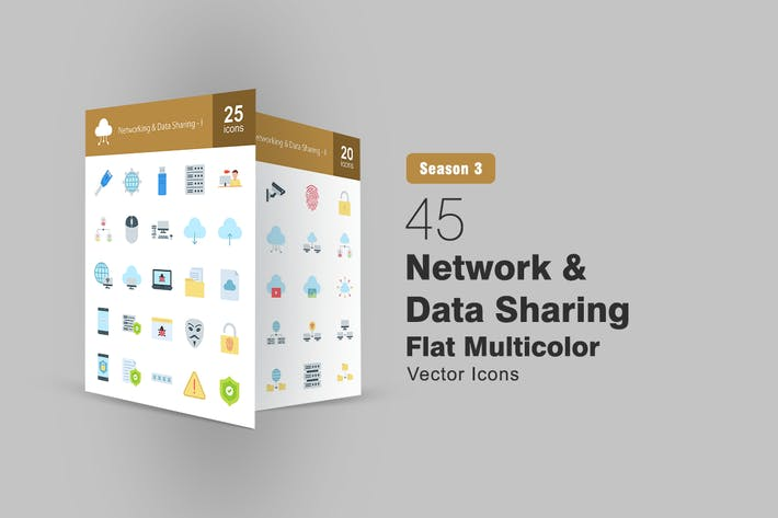 Thumbnail for 45 Network and Data Sharing Flat Icons