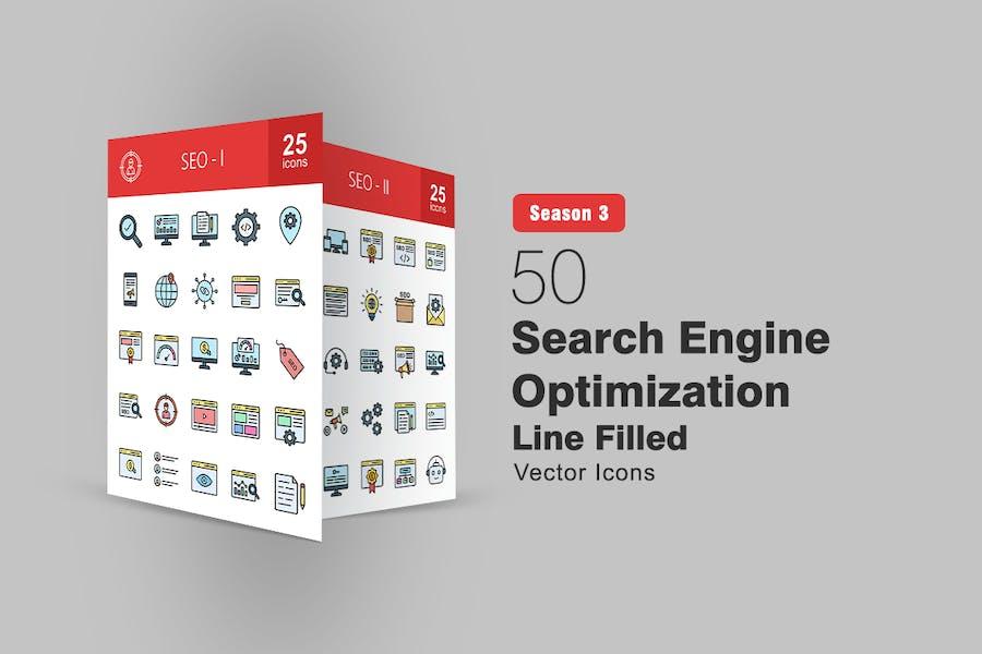 50 Íconos de línea llena de optimización de motores de búsqueda