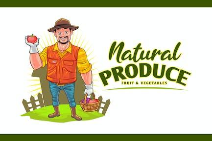 Cartoon Farmer - Obst & Gemüse Produce Logo