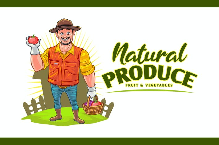 Thumbnail for Cartoon Farmer - Obst & Gemüse Produce Logo