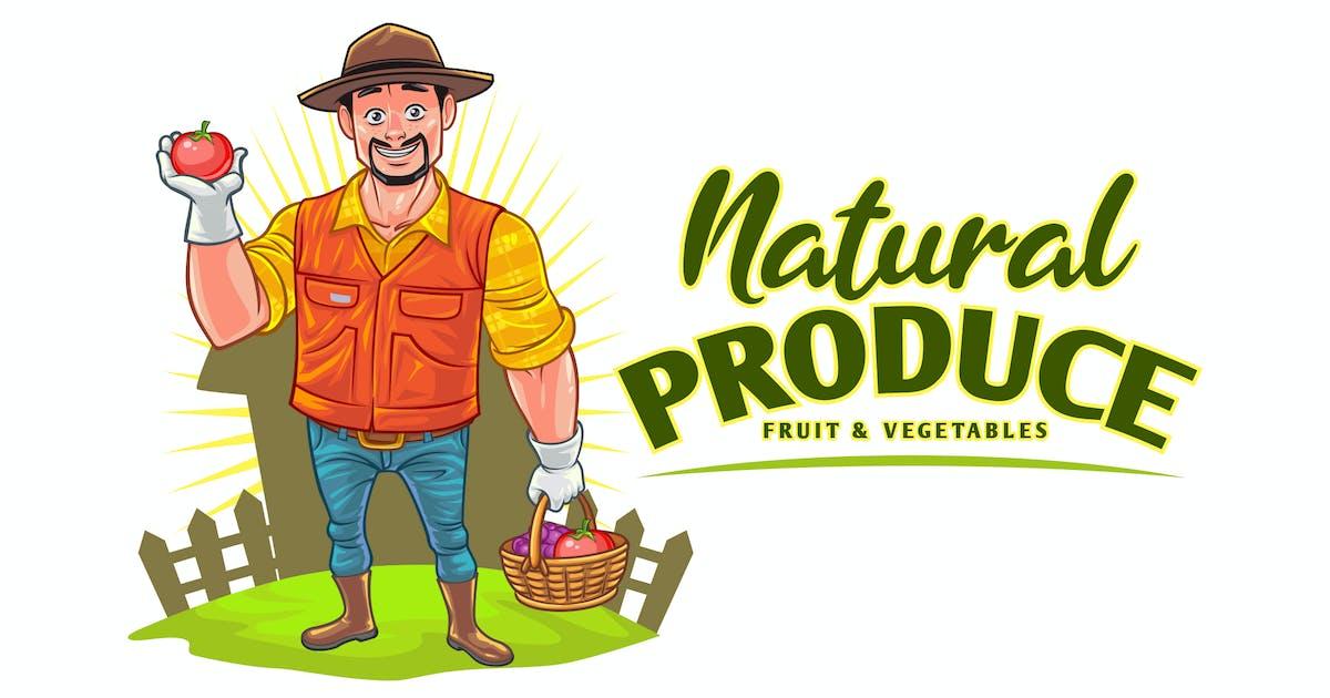 Download Cartoon Farmer - Fruits & Vegetables Produce Logo by Suhandi