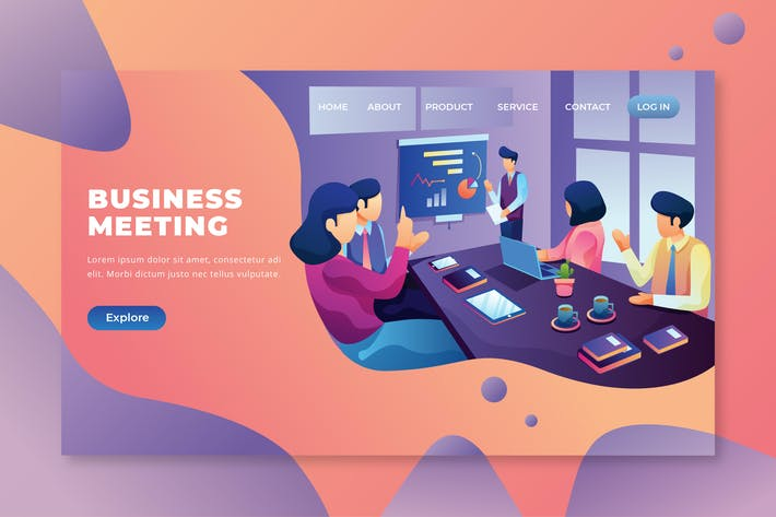 Thumbnail for Business Meeting - PSD and AI Vector Landing Page