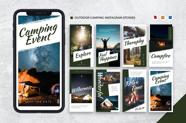 Thumbnail for Outdoor Camping Instagram Stories AI and PSD