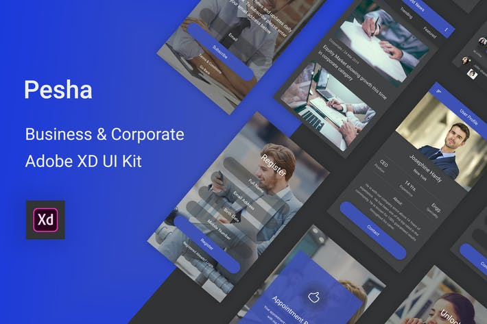 Thumbnail for Pesha - Business & Corporate Adobe XD UI Kit
