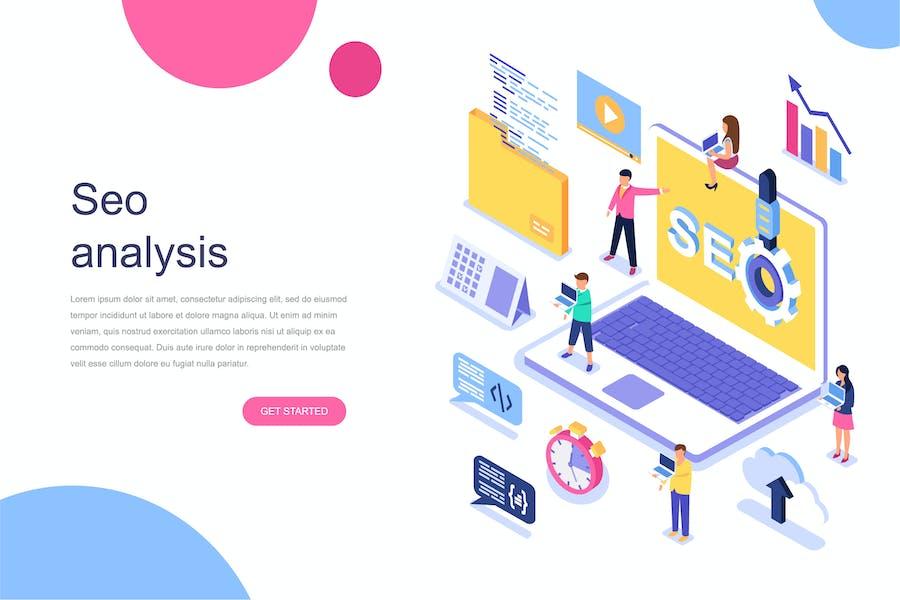 Seo Analysis Isometric Concept