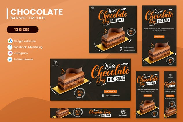 World Chocolate Day Banner Ads Set Template