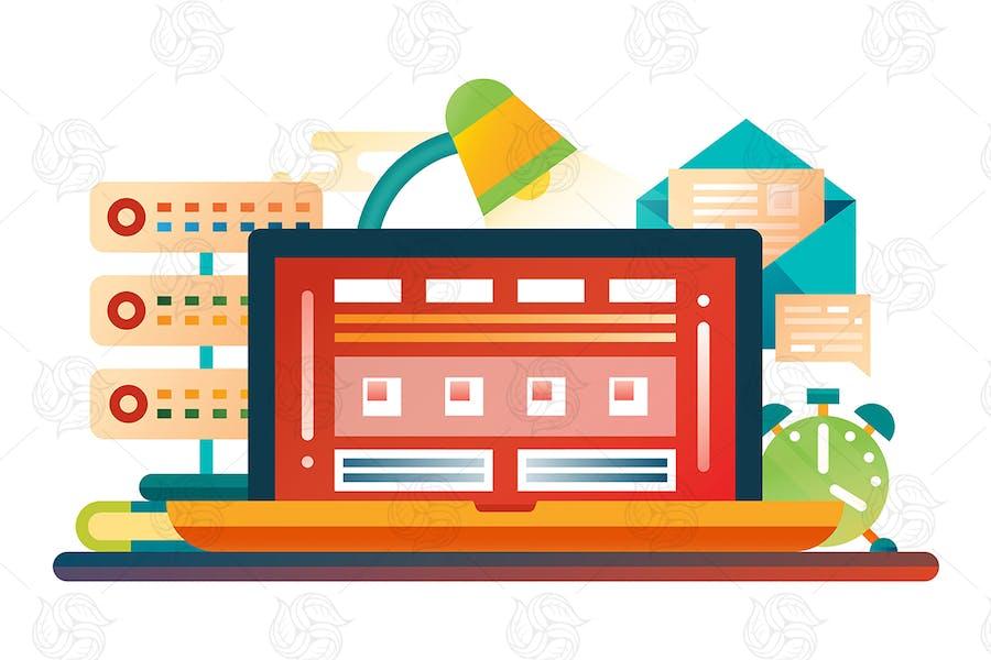 Work Place - Flat Design Website Banner