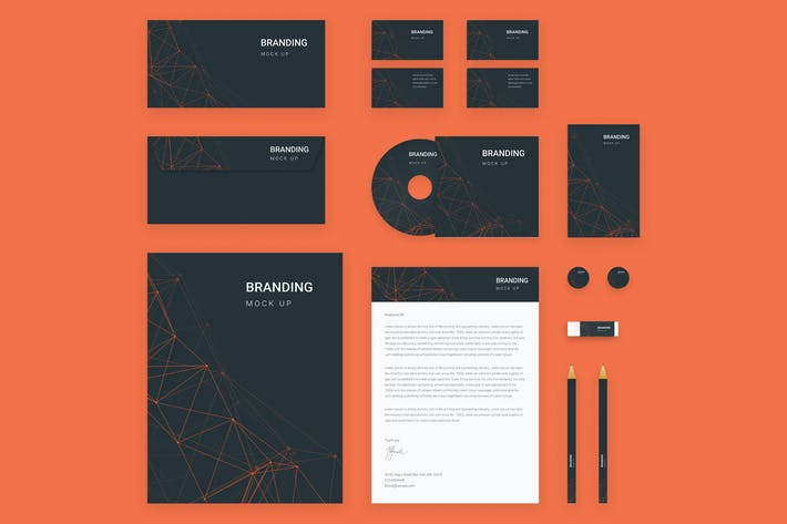 Thumbnail for Branding Identity Mock Up - Orange Tech  for Psd