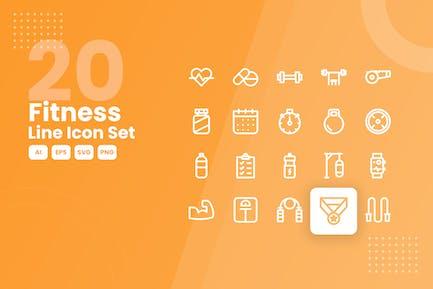 20 Fitness Line Icon Set
