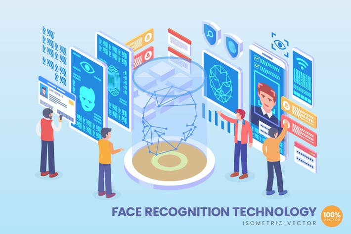 Thumbnail for Isometric Face Recognition Technology Vector
