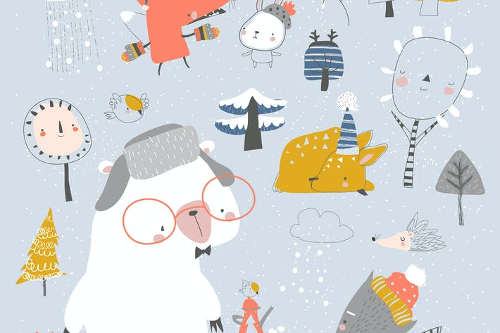 Thumbnail for Cartoon cute animals meeting winter in the forest