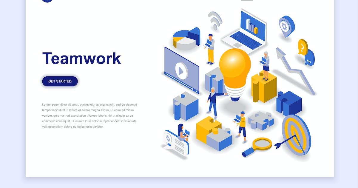 Download Teamwork Isometric Landing Page by alexdndz