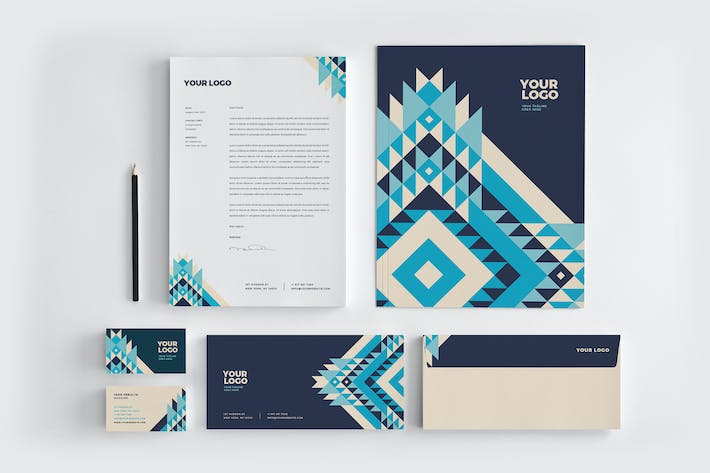 Thumbnail for Creative Blue Pattern Stationery