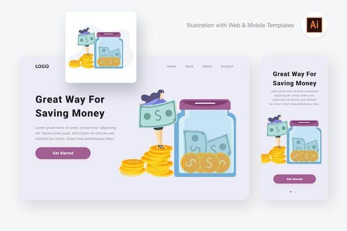 Thumbnail for Saving money illustration (Illustrator & SVG)