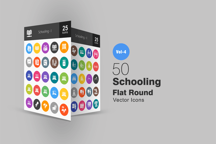 Thumbnail for 50 Schooling Flat Round Icons