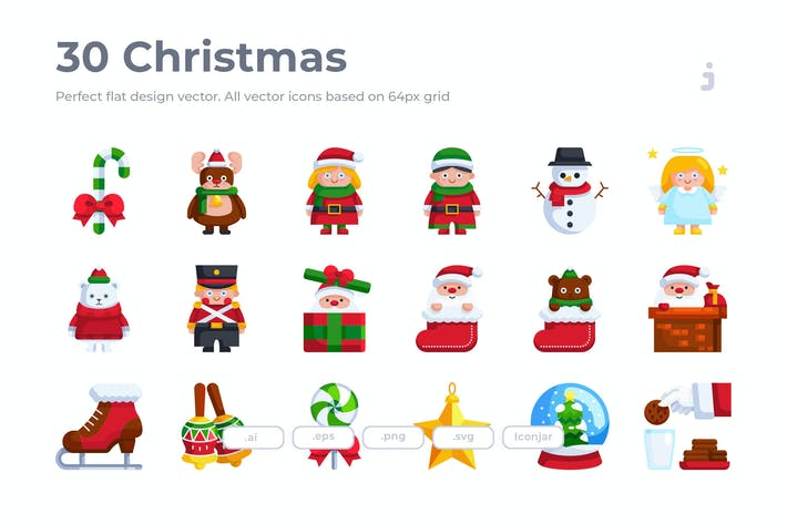 Thumbnail for 30 Рождественские Иконки - плоский