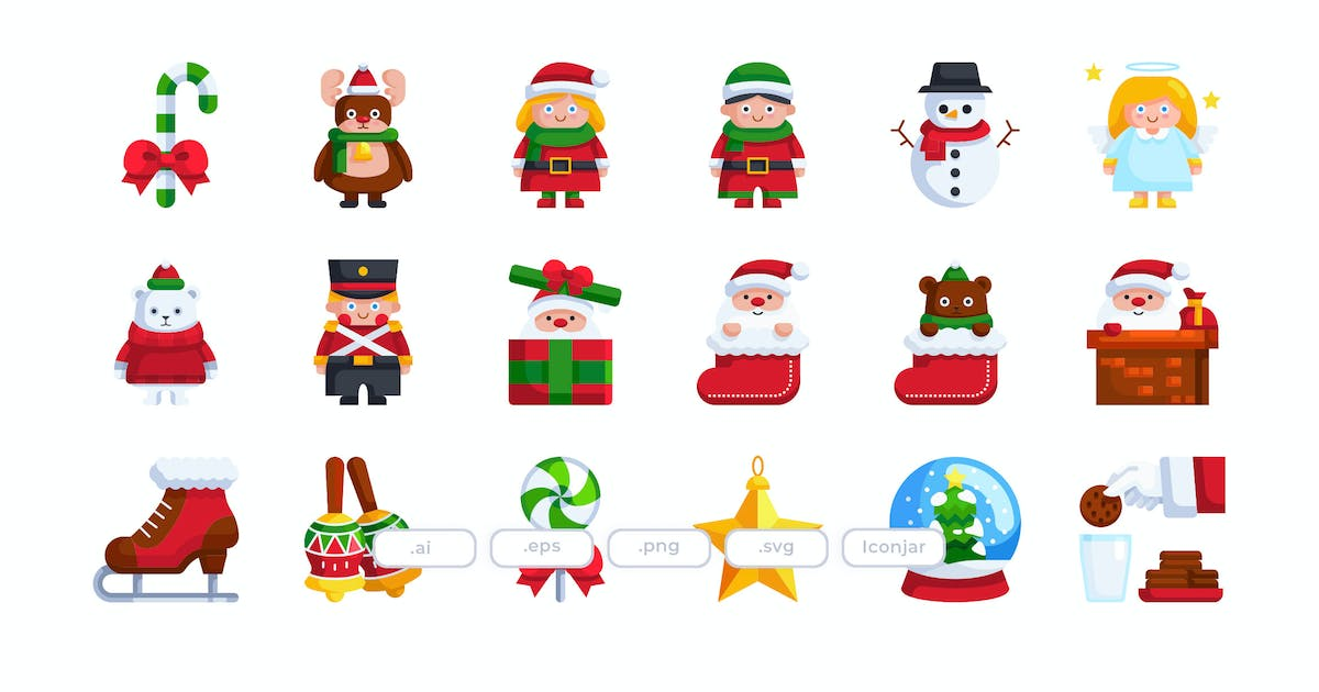 Download 30 Christmas Icons - Flat by Justicon
