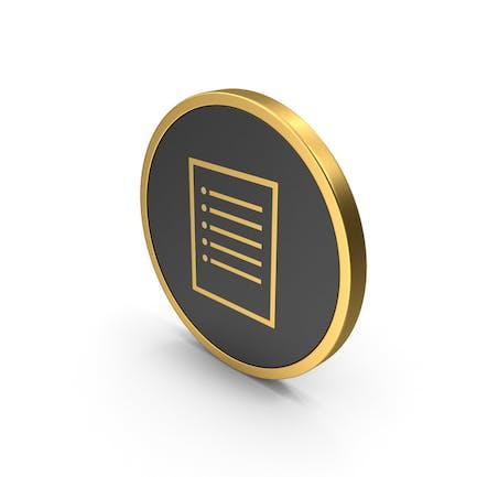 Nota de papel con icono dorado