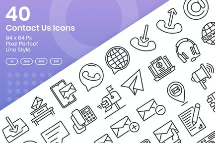40 Contact Us Icons Set - Line