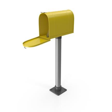 Mailbox On Post Opened Yellow