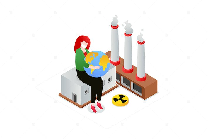 Thumbnail for Air Pollution - isometric colorful illustration