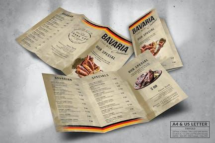 Bavaria Trifold Food Menu Design A4 & US Letter