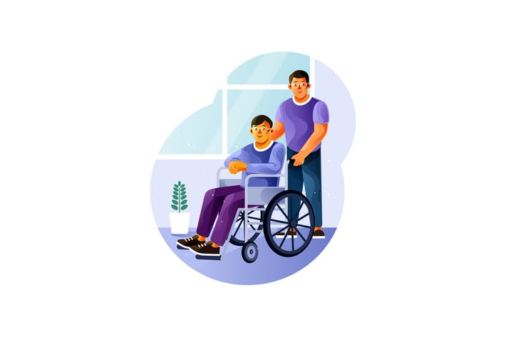 Voluntariado es con un joven en una silla de ruedas