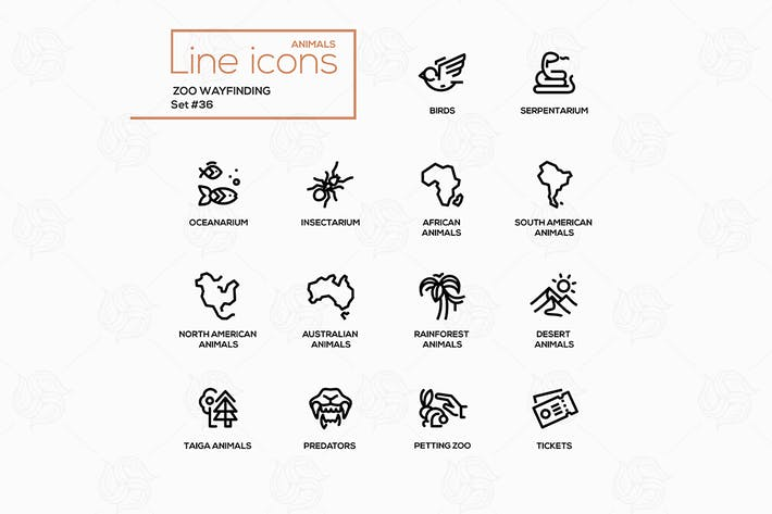 Thumbnail for Zoo wayfinding - modern vector single line icons
