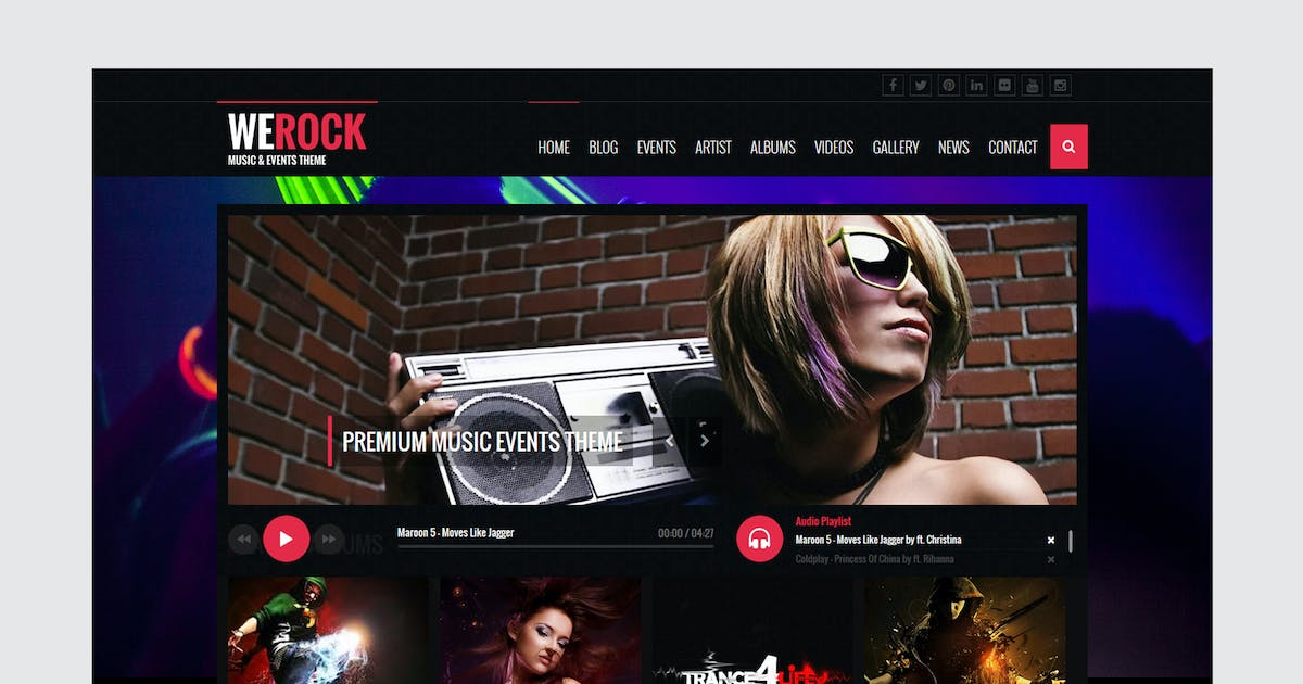 Download WeRock - Ajax Music Radio Streaming & Event HTML T by xvelopers