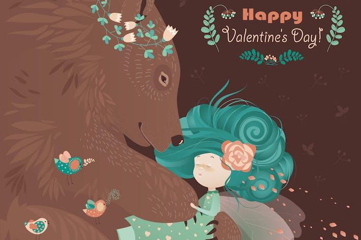 Thumbnail for Bear hugging cute girl. Vector romantic card