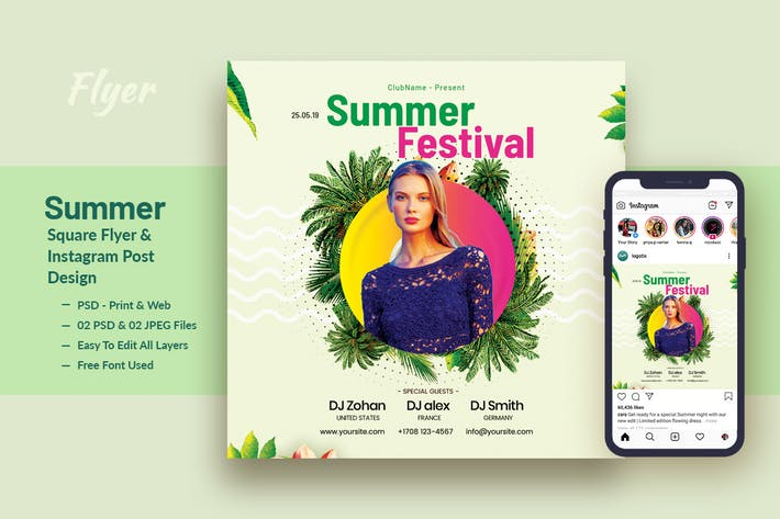 Cover Image For Tropical Sound Flyer & Instagram Post Template