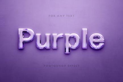 Фиолетовое стекло 3D текстовый эффект