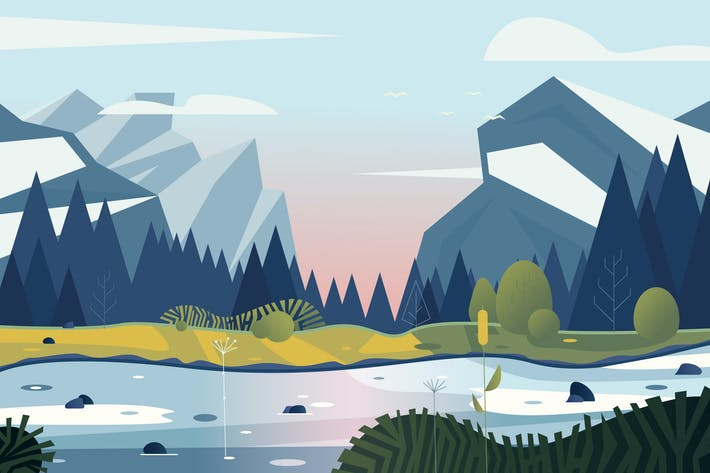 Thumbnail for vector landscape with mountains and forest
