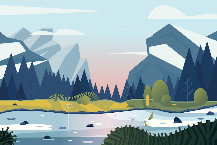 vector landscape with mountains and forest