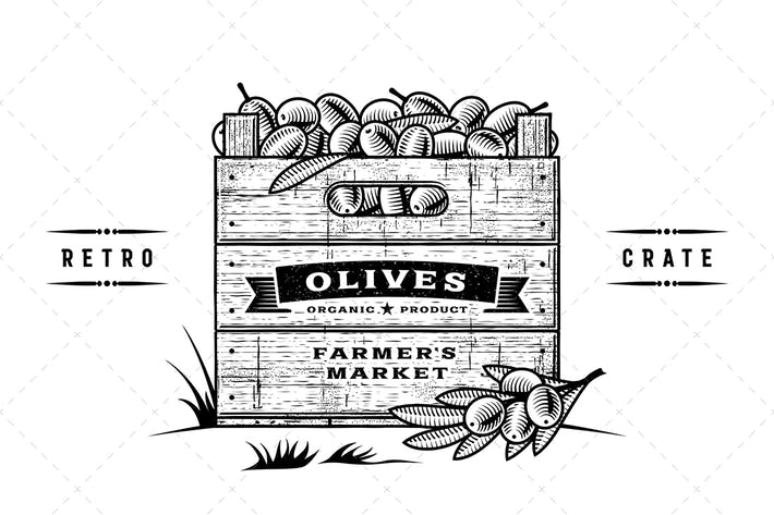 Thumbnail for Retro Crate Of Olives Black And White