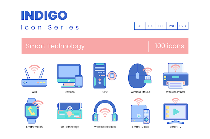Thumbnail for 100 Smart Technology Icons - Indigo Series