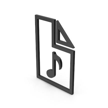 Symbol Audio File Black