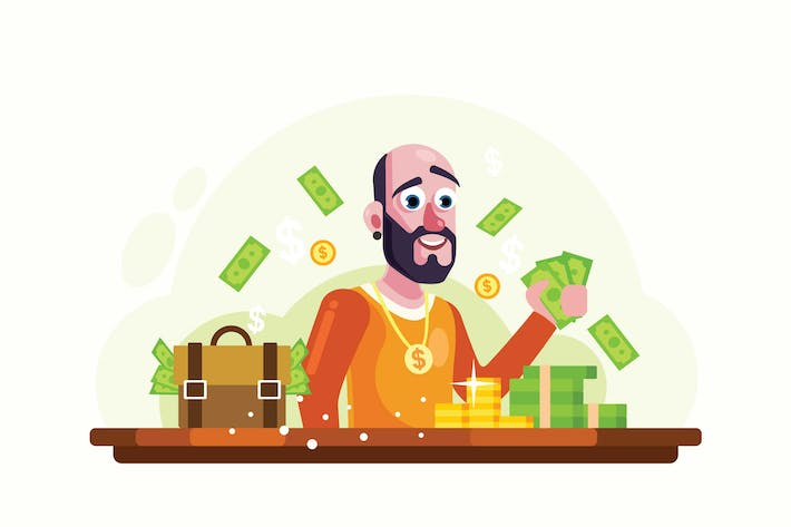 Thumbnail for Rich Man with Money and Gold Vector Illustration