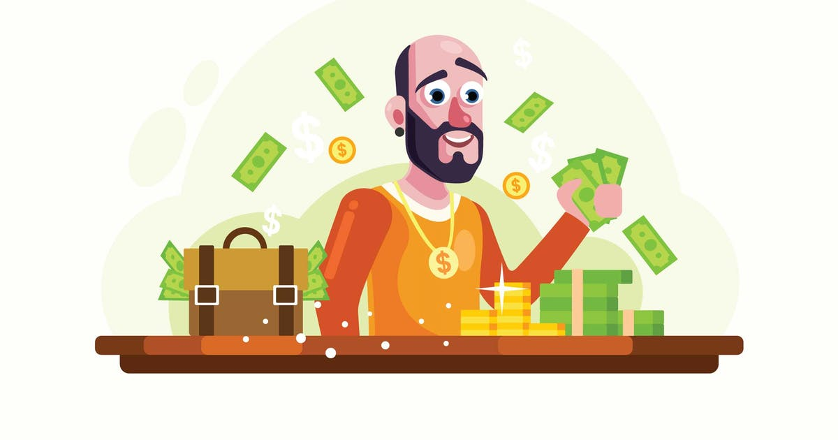 Download Rich Man with Money and Gold Vector Illustration by IanMikraz