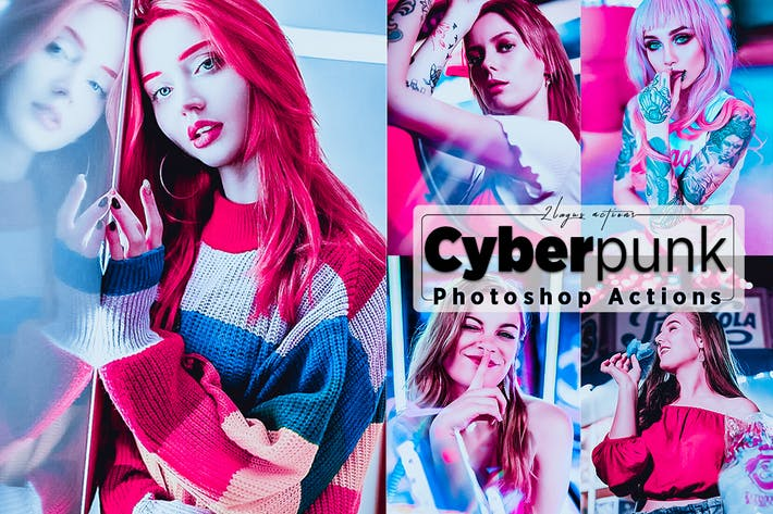 Thumbnail for Cyberpunk Portrait Photoshop Actions