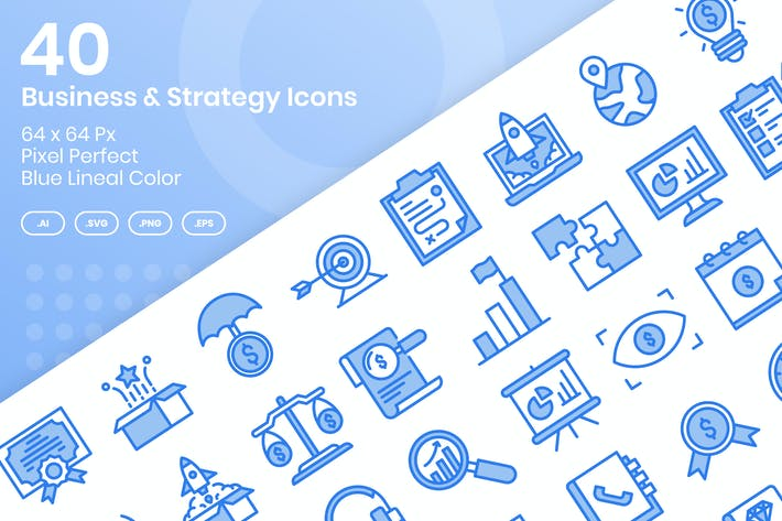 Thumbnail for 40 Business & Strategy Icons - Blue Lineal Color