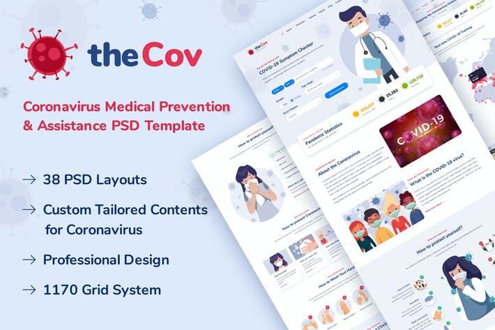 Thumbnail for TheCov - Coronavirus Prevention PSD Template