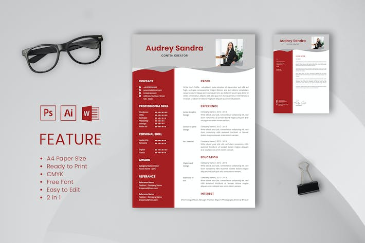 Thumbnail for Professional CV And Resume Template Audrey Sandra