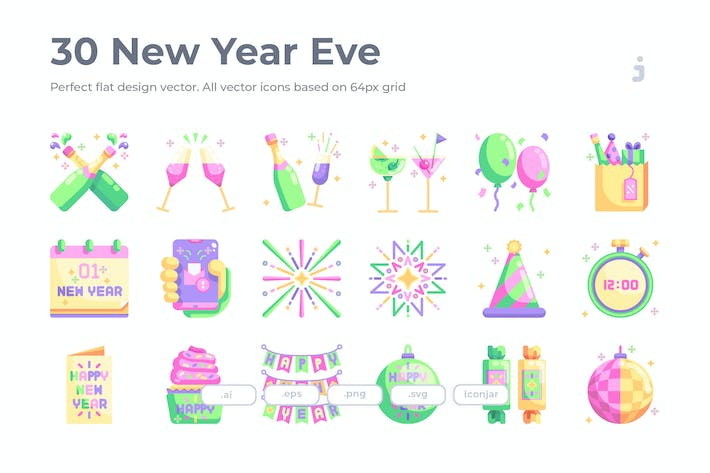 Thumbnail for 30 New Year Eve Icons - Flat