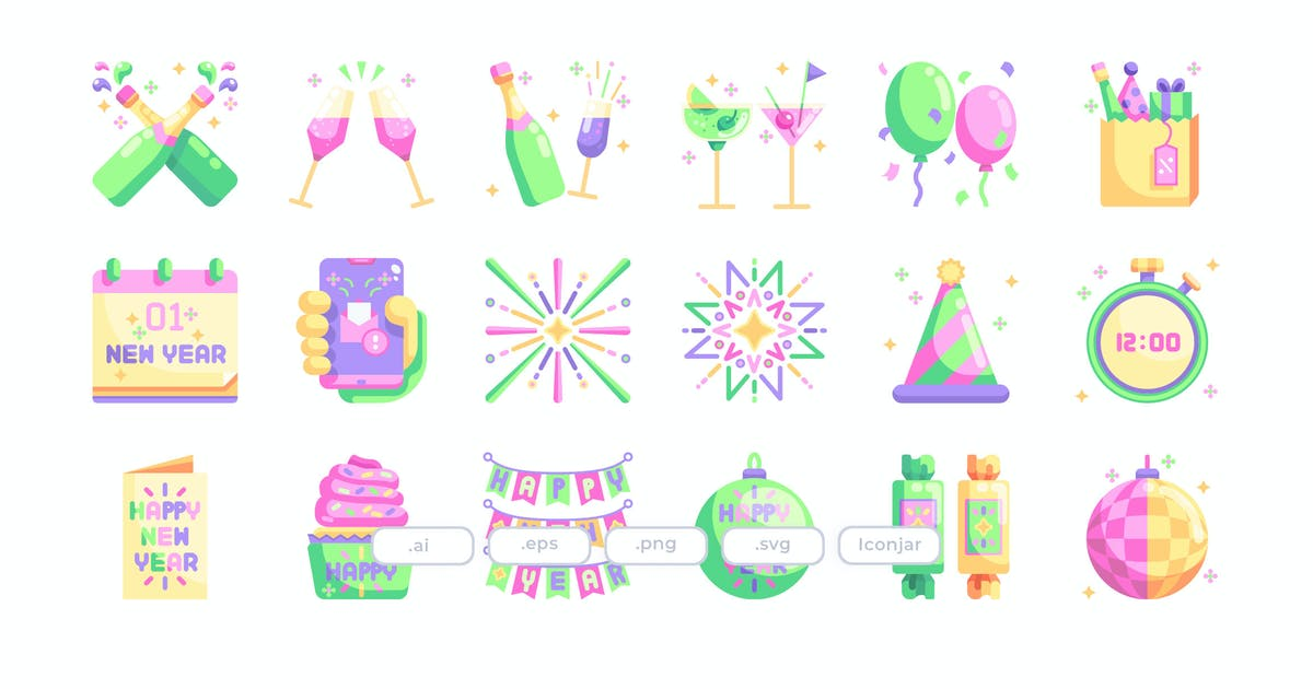 Download 30 New Year Eve Icons - Flat by Justicon