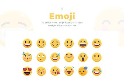 30 Emoji Icon Set - Flach