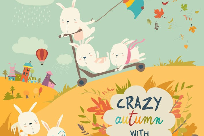 Thumbnail for Cute crazy rabbits playing in autumn fall season.