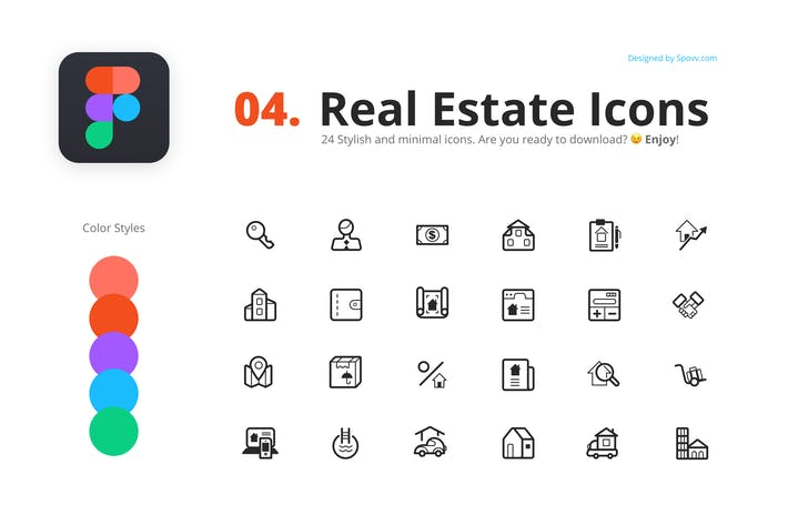 Thumbnail for 24 Real Estate Icons