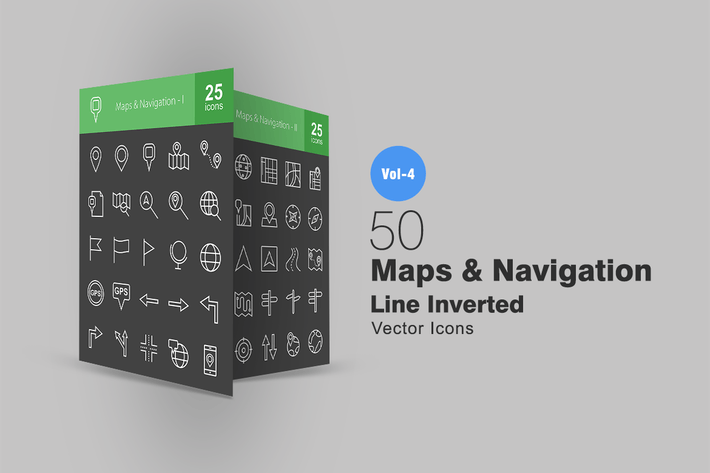 Thumbnail for 50 Maps & Navigation Line Inverted Icons